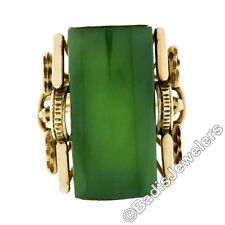 Handmade Antique Victorian 14k Gold Domed Cabochon Cut Nephrite Jade Etched Ring
