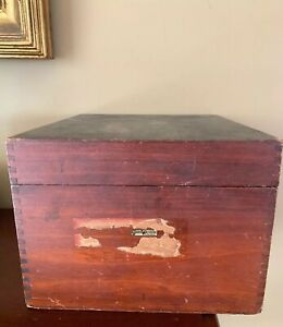 "Vintage Globe Wernicke Wood file box card catalog cabinet Label 8.5 X 10 X 6.5"""