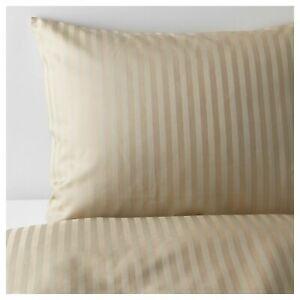 Ikea NATTJASMIN Full/Queen Duvet Cover and 2 Pillowcases set Striped Beige 310TC