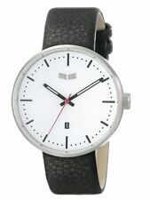 2015 NIB VESTAL ROOSEVELT STAINLESS STEEL WATCH W BLACK LEATHER STRAP $190 white