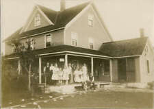 Photograph c1910 Group on Porch Post Card For Sale Sign