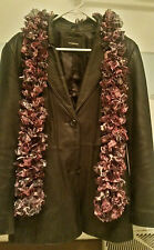 """""""Handmade"""" Polyester Knitted Purple Panther Print Ruffle Scarf"""