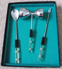 COLLECTABLE VINTAGE BAR COCKTAIL SET SMALL DICE ENCASED LUCITE HANDLES BOXED
