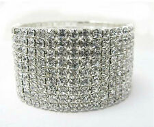 9 Rows Crystal  Rhinestone Silver Plated Clear CZ Bracelet 6.5 Inches