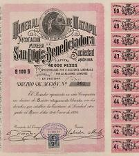 MEXICO MAZAPIL MINING COMPANY BOND stock certificate 1894, SAN ELIGIO,W/COUPONS