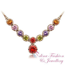 18K Rose Gold Plated AAA Grade CZ Gorgeous Colorful Rainbow Bridge Necklace