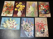 7 x FLOWER ARRANGEMENT POSTCARD Set ~ MINT Cond SALMON
