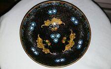 """Vintge Rare Cloisonne Enamel Carved Floral Designed 6""""3/4 Bowl"""