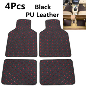 4pcs Black Leather Car Front Rear Floor Protector Mats Dustproof Waterproof Mat