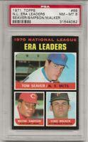 1971 TOPPS #68 NL ERA LDRS,  PSA 8 NM-MT, TOM SEAVER, HOF, CENTERED, L@@K