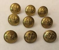 VTG 16mm BRASS LIVERY BUTTONS X 9 COAT OF ARMS ? EARL OF BUTE AVITO VIRET HONORE