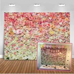 CdHBH 10x12ft Sweet Blooming Rose Flower Wall Floor Vinyl Material Photo Studio Photography Photo Props Children Birthday Photo Background Cloth Wallpaper Home Decoration