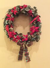 """18"""" Christmas wreath grapevine red cardinals poinsettia green gold holly"""