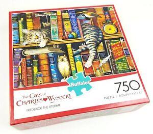 """Charles Wysocki CAT Puzzle """"Frederick the Literate"""" 750 pcs Buffalo SEALED"""