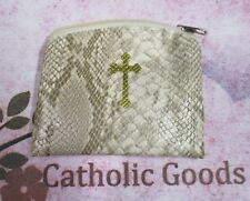 """New listing Beige Reptile Pattern (3"""" x 4"""") Lined Zippered Rosary or Chaplet Case"""