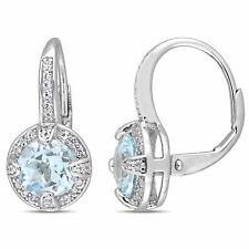 Amour Sterling Silver Sky-Blue Topaz and White Sapphire Halo Leverback Earrings