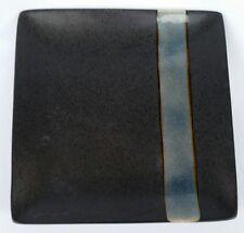 4 AMERICAN ATELIER SKY BLUE CRACKLE SQUARE DINNER PLATES BLACK