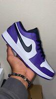 Brand New Sz 12 Nike Air Jordan 1 Low Court Purple White 553558-500 Mens