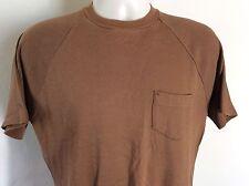 Vtg 70s Robert Bruce Raglan Pocket T-Shirt Brown M Grubb Stuff Plain Blank Nerd