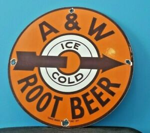 VINTAGE A & W PORCELAIN METAL OLD SODA BEVERAGE ROOT BEER MUG BOTTLE SIGN
