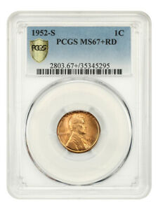1952-S 1c PCGS MS67+ RD - Tied for Finest Known - Lincoln Cent