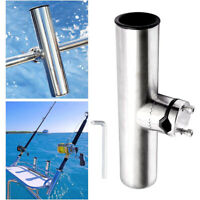 Stainless Steel Fishing Rod Holder Tube Rack Boat Tackle Clamp On Rail Mount AU