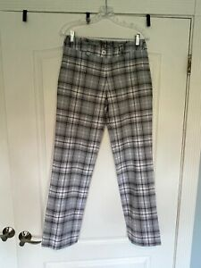 Nike Golf Women's Grey Plaid Flat Front Pants Size 6