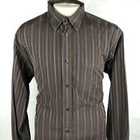 "Bugatchi Uomo Mens Brown Striped Long Sleeve Button Front Shirt Size XL ""N"""