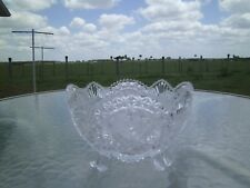 """HOFBAUER BYRDES BLEIKRISTALL 8 1/2 """" FOUR FOOTED CRYSTAL BOWL WITH BIRDS MOTIF"""