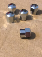 CHROME DOMED TOP METAL TYRE VALVE DUST CAPS X 5