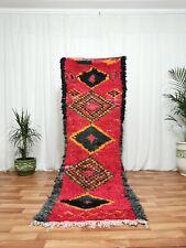 Moroccan Handmade Runner Rug - Bohemian Berber Red Carpet 3'x7'5'' Area Rugs