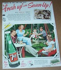 1950 advertising - 7UP Seven 7-up soda pop family backyard swing Print AD Page