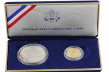 US Constitution Coins Silver Dollar & Gold Five Dollar Coin Set Proof COA 1987