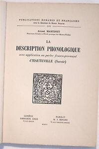 DESCRIPTION PHONOLOGIQUE parler franco-provençal d'HAUTEVILLE Savoie 1956 TBE
