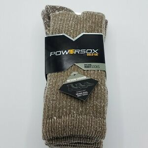 2 Pairs Powersox by Gold Toe Wool Blend Cushioned Boot Socks Taupe Marl - Large