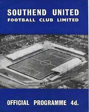 Football Programme>SOUTHEND UNITED v HALIFAX TOWN Mar 1963