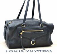 Authentic Louis Vuitton Empreinte Anspire Shoulder Bag Navy LV A4176