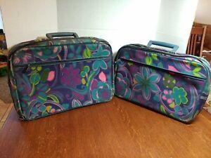"2 Vtg 17"" × 12"" & 16"" x 10"" Child's Flower Power cloth zippered Suitcases w/Key"
