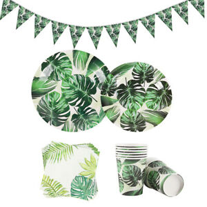 Palm Turtle Leaf Tableware Sets Tropical Jungle Hawaii Birthday Party Decor