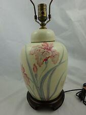 Vintage Wildwood Lamp ~ Offwhite Crackle Porcelain w/ Painted Pink Iris Design