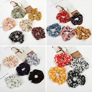 Soft Elastic Floral Scrunchies Hair Tie Floral Summer Hair Ring Hair Accessories