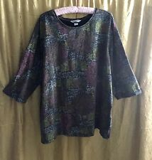 CJ BANKS 3X Pullover Cotton Top 3/4 Sleeves Multi Color
