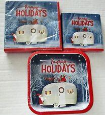 CHRISTMAS Paper Plates & Napkins  SANTA CAMPER