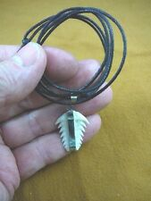 "(s62-19) Rare 1-1/4"" Six-Gill Bluntnose Cow Shark Tooth pendant black necklace"