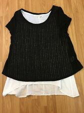 Anthropologie Meadow Rue Black White Faria Layered Tunic Size Large