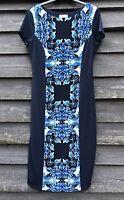 LINEA Navy Blue Stretch Midi Lined Shift Dress, Front Floral Panel UK14 EU42