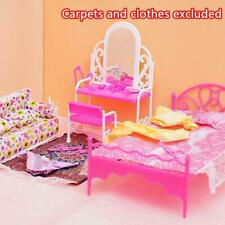Creative Pink Bed Dressing Table & Chair Set For Baby Dolls Bedroom Furniture