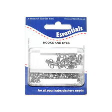 24 sets of Nickel lated brass hooks and eyes in re-usable plastic box, size 3