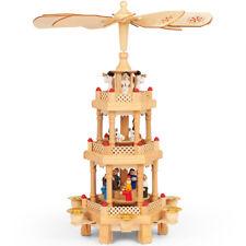 Weihnachtspyramide Weihnachtsdeko Weihnachtskrippe Kerzen Pyramide Holz 3Stöckig