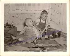1949 Young Boys Play Structo Power Shovel/Crane Whimsie Blocks Wagon Toys Photo
